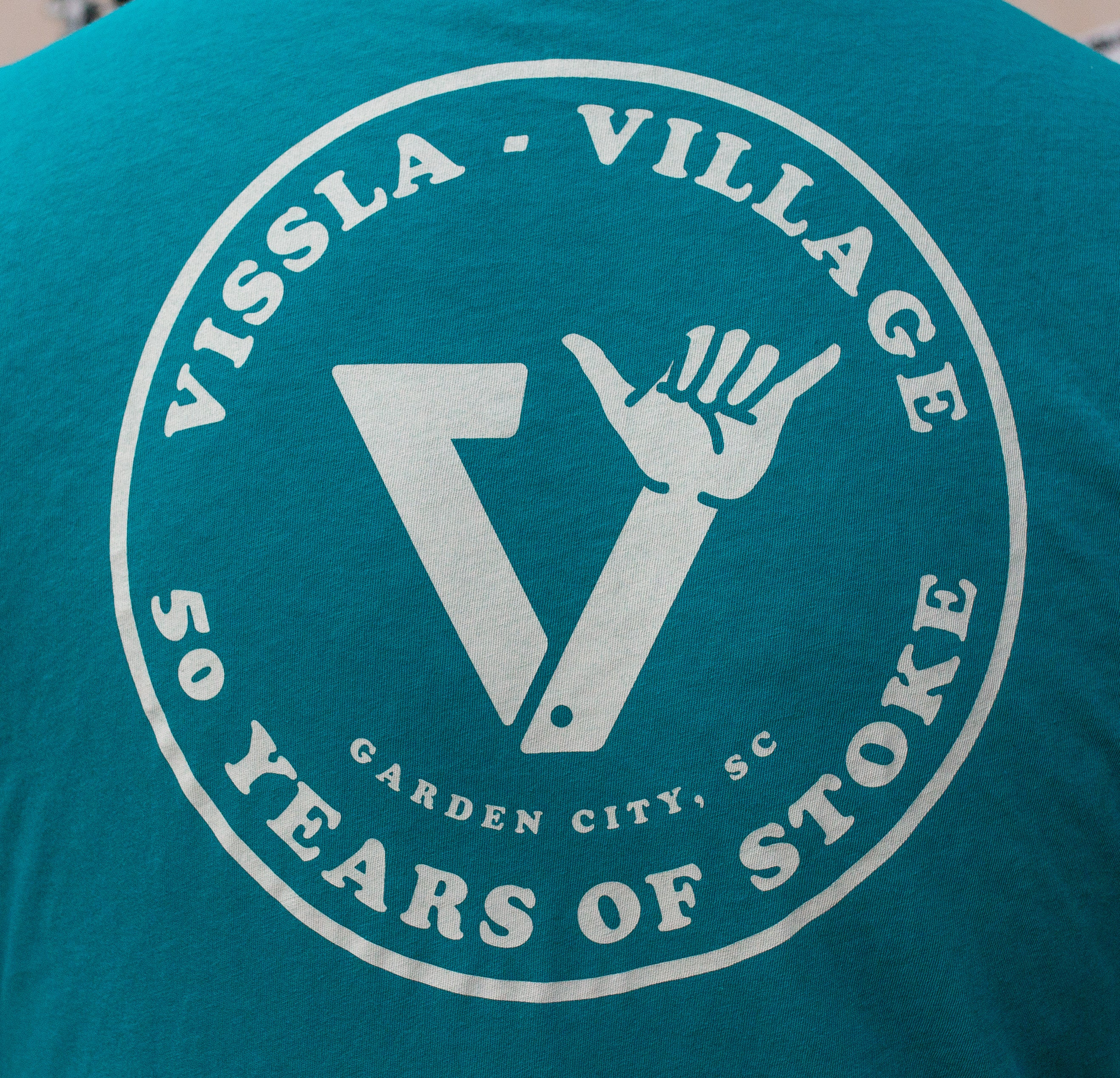 Village || Vissla 50 Years Of Stoke Teal Pocket Tee