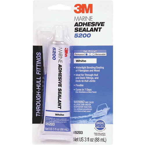 05203 3M Marine Adhesive Sealant 5200 (05203) – Permanent Bonding and Sealing for Boats and RVs – White – 3 Ounces