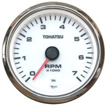 3NW726380M Tohatsu White Faced Tachometer w/ Oil Pressure Warning Light