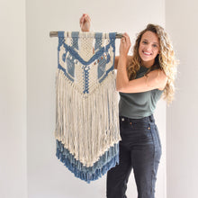 Load image into Gallery viewer, Handmade Blue Macrame Wall Hanging
