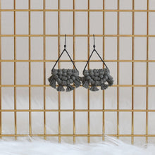 Load image into Gallery viewer, Black Plated Handmade Macrame Triangle Earrings