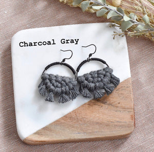 Black Plated Half Circle Macrame Earrings