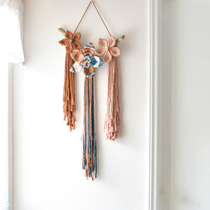 Triple Macrame Flower Wall Hanging