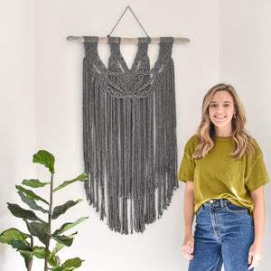 Handmade Charcoal Gray Macrame Wall Hanging