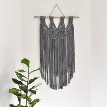 Load image into Gallery viewer, Handmade Charcoal Gray Macrame Wall Hanging