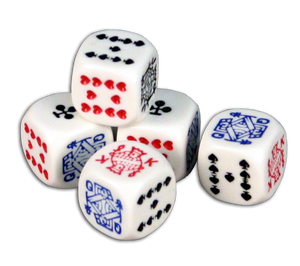set of 5 6 sided poker playing card dice