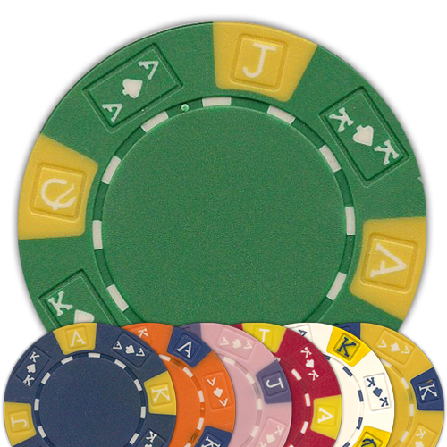 Ace King 3-Tone design 11.5 gram poker chips - 50 chips - Chose your color