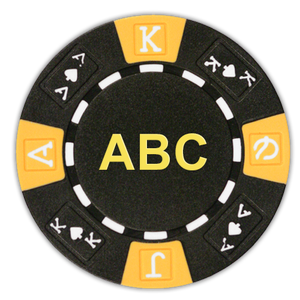 Ace King 3-tone monogrammed custom poker chips