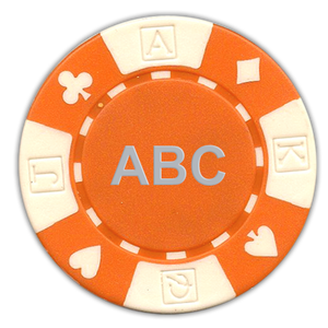Custom monogrammed poker chips - card suited design