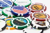 8 Stripe custom poker chips with a direct print process