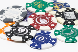 Custom card suited poker chips with your logo