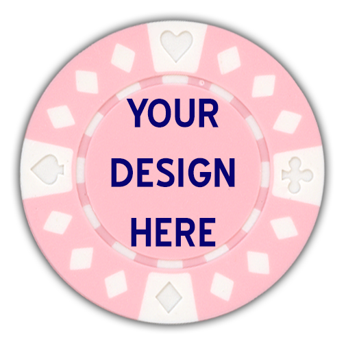 Diamond suited custom poker chips with your artwork