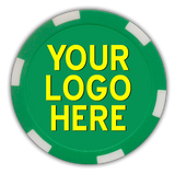 Custom full color poker chips in a 6 stripe design