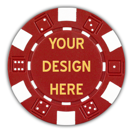 Custom hot-stamped poker chips - dice design