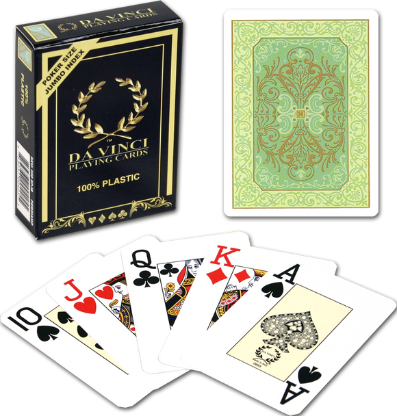 DA VINCI Italian plastic playing cards - Persinao Green design - poker size large index