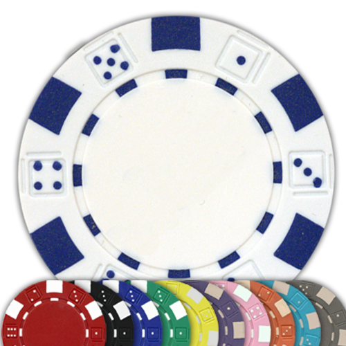 Dice design 11.5 gram poker chips - 50 chips - Chose your color