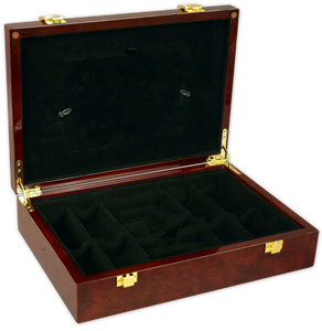 glossy wood poker chips case with room for 200 chips