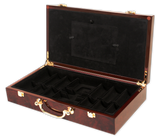 glossy wood poker chips case with room for 300 chips