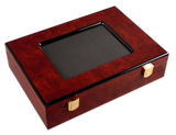 200 capacity glossy wood poker chips case with picture frame top