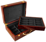 glossy wood poker chips case with room for 500 poker chips