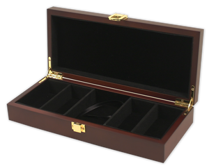 mahogany wood poker chips case with room for 100 chips