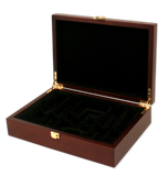 mahogany wood poker chips case with room for 200 chips