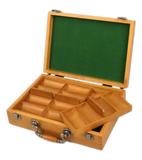 300 chip capacity oak wood poker chips case with removable chip trays