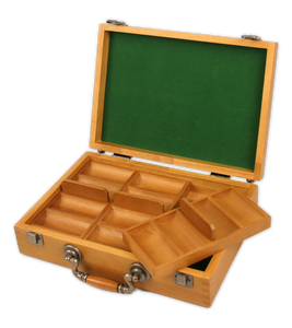 oak wood poker chips case with room for 300 poker chips case - has removable chip trays