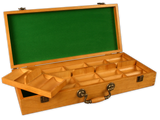oak wood poker chips case with room for 500 poker chips and removable chip trays