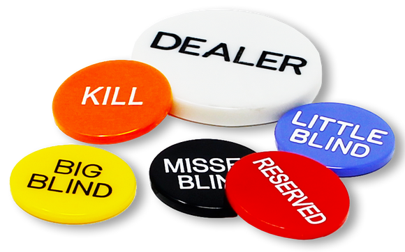 Set of 6 professional poker dealrer buttons