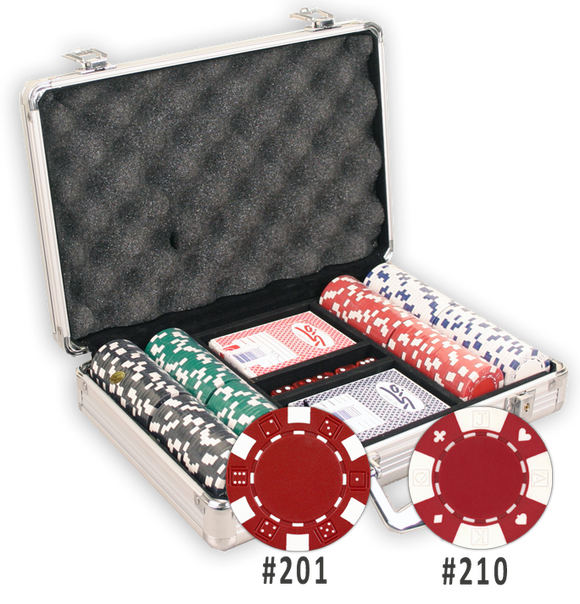 200 poker chips with an aluminum case
