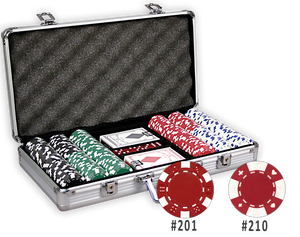 Poker chips set with 300 chips and aluminum case