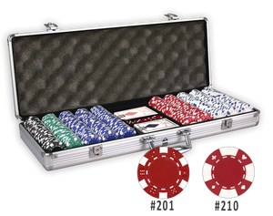 Poker chips set with 500 chips and an aluminum case