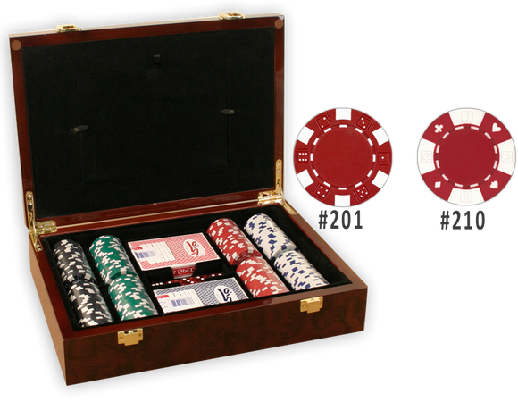 Poker chips set in a glossy wood picture frame case and 200 chips