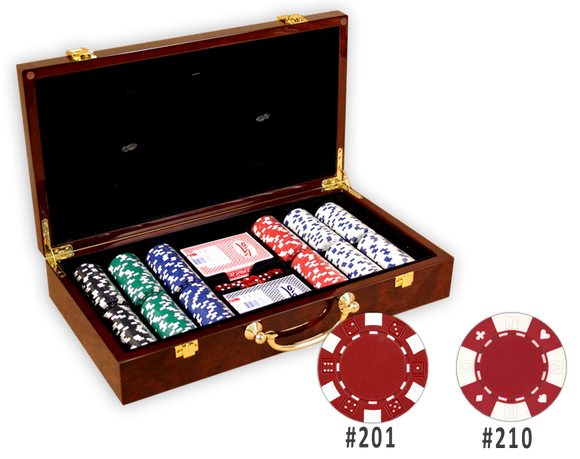 Poker chips set with 300 chips in a glossy wood picture frame chips case