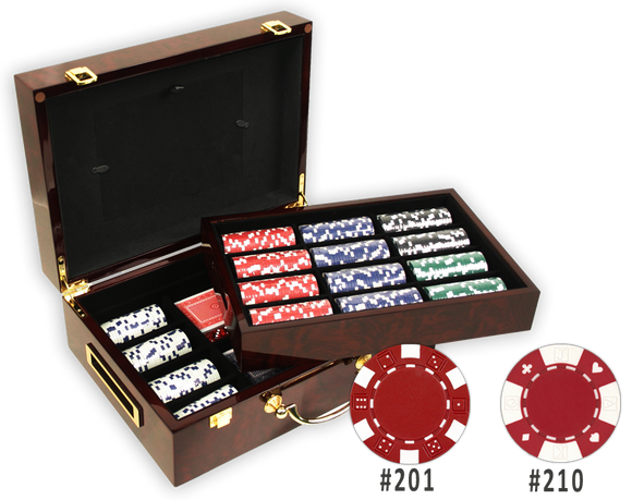 Poker chips set with 500 chips in a glossy wood case with removable chip tray