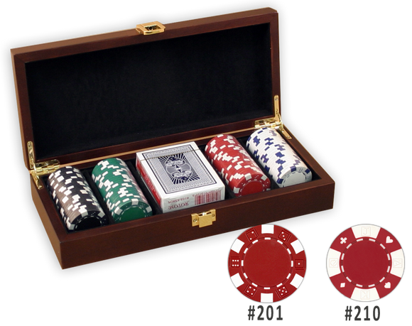 Poker chips set with 100 chips in a Mahogany finish wooden case