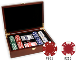 Poker chips set in a mahogany wood finish poker chips case and 200 chips