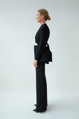 Collarless Black Jacket with Pocket Flaps