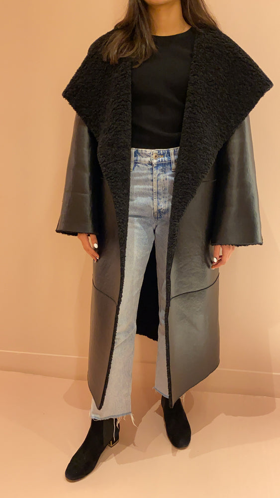 Oversize Shawl Coat with Belt
