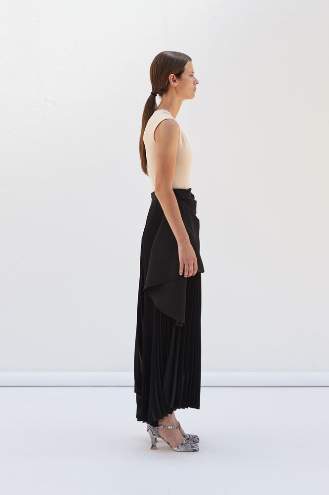 High Waisted Pleated Skirt With Draped Apron Detail