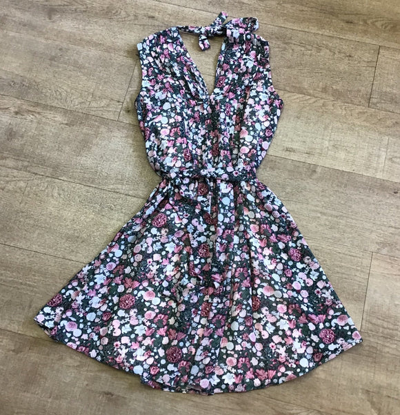 Jack Wills Green and Pink Floral Dress Size 8