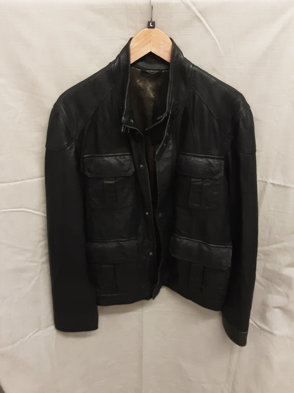 Ted Baker black mens leather jacket - H70