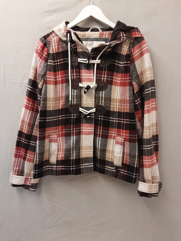Ladies Abercrombie and Fitch checked wool coat size M - H70