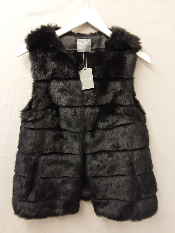 BNWT ladies Oasis faux fur sleeveless jacket size XS - H70