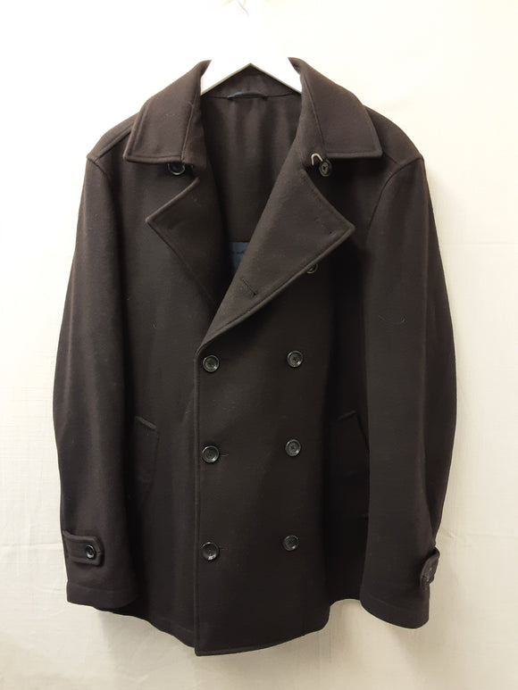 Black Z Zegna City Wool Double Breasted Coat Size L