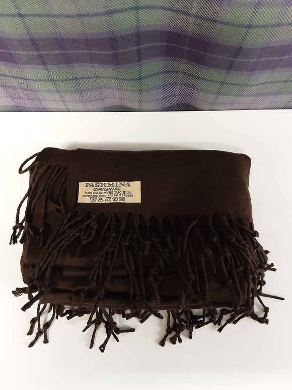 BNWOT Pashmina original 90% cashmere shawl in brown - H70