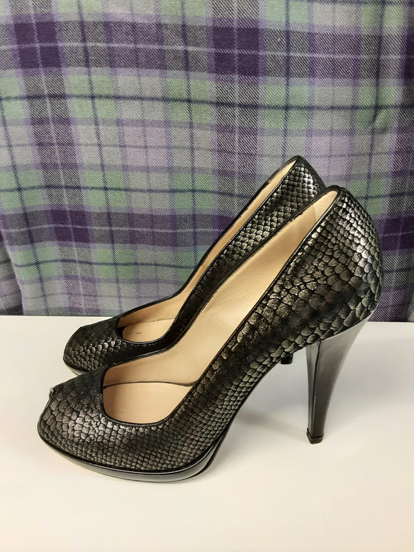 HOBBS ladies black snakeskin effect heels size 39 - H70
