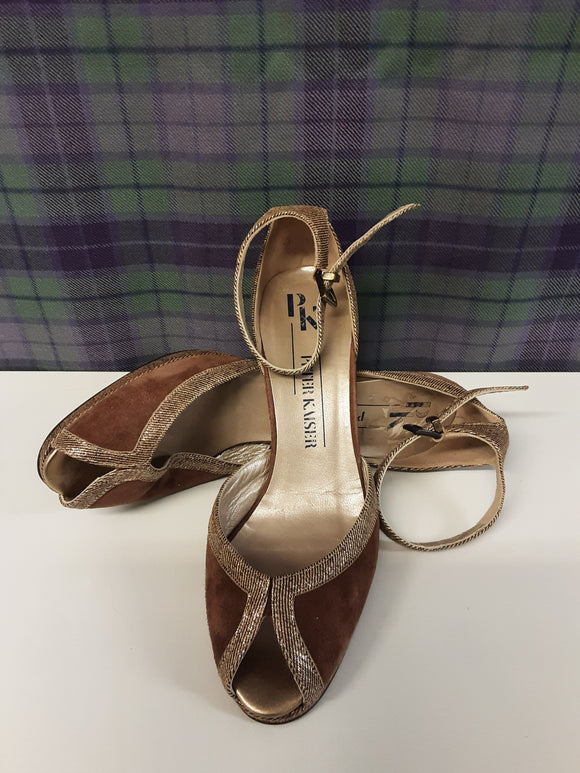 Peter Keiser brown leather heeled shoes size 5.5 - H70