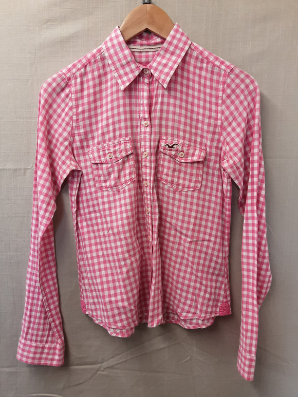 Ladies Hollister pink chequered shirt/blouse size s - H70
